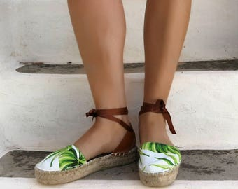 Espadrille Sandals. Exotic Print Lace up Espadrilles. Summer Leather and Fabric Shoes. Women's Sandals. Greek Sandals.