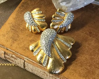 Abstract Signed Butler Rhinestone Gold Tone Demi Parure Brooch Pin Earrings Clip On 1980's Fifth Avenue Collection Largish Statement Jewelry
