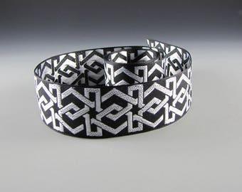 BLACK WHITE Geometric Jacquard Ribbon Guitar STRAP Pet Collar 2 Yards