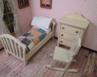 "Vintage Dollhouse Bedroom Furniture - Bed Dresser and Chair - 1"" Scale"