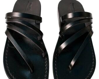 CLEARANCE SALE - Black Rainbow  Leather Sandals for Men & Women - EURO # 44 - Handmade Unisex Sandals, Genuine Leather Sandals, Sale