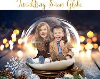Christmas Digital Background, Photo Overlays, Background Replacement, Photography Backgrounds & Backdrops, Twinkling Snow Globe.
