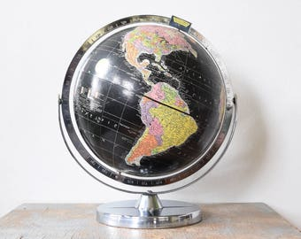 black world globe, vintage 60s encyclopedia britannica globe, mid century black ocean dual axis globe