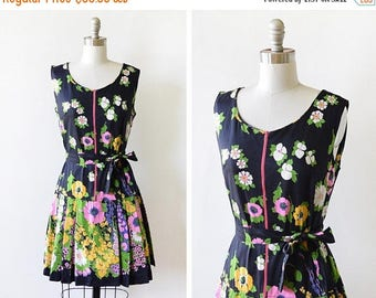 20% OFF SALE 60s scooter dress, vintage 1960s romper, mid century mod black floral mini dress with shorts, small s
