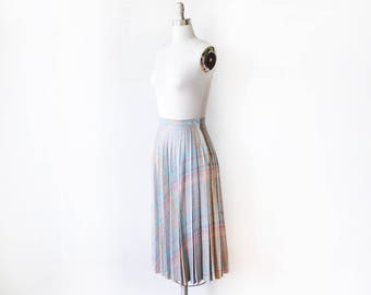 70s pleated plaid skirt, vintage wool skirt, 1970s gray rainbow midi skirt, small s