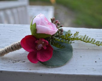 Blush Pink Flower with Cranberry Colored Orchid  Silk Boutonniere Wrapped with Twine  Country Rustic Wedding