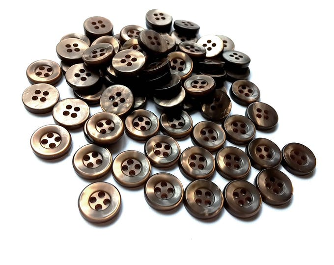 Featured listing image: Brown plastic sewing buttons - set of 70 vintage craft buttons 11mm