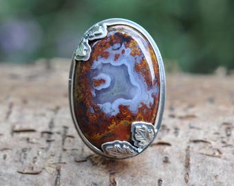 Sterling Agate Ring, Oxidised Metalwork Ring, Statement Gemstone Ring, Agate Cocktail Ring, Plume Agate Ring - Oak Ring in Agate