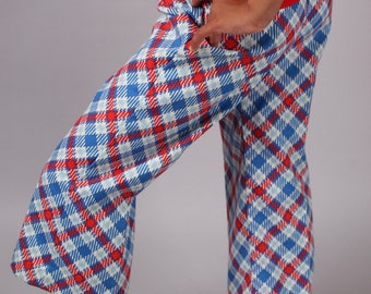 kids 70s bell bottom plaid pants red white blue checkered childs girls boys vintage