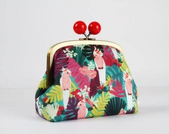 Metal frame clutch bag - Tropical parrots - Color bobble purse / Korean fabric / Tropical birds / Rainforest / Pink red green blue