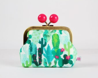 Metal frame coin purse with color bobble - Cactus - Color dad / French fabric / Cacti / Green turquoise mint lime / hot pink