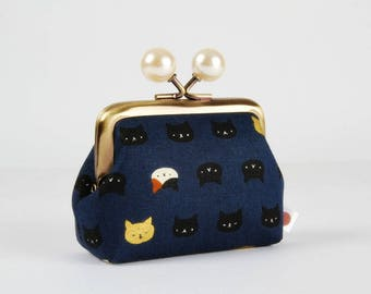 Metal frame coin purse with color bobbles - Mini Neko cats on navy - Color mum / Kawaii japanese fabric / white black pearl metallic gold