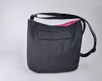 Menswear Hobo Bag – OOAK, Crossbody Bag, Shoulder Bag, Messenger bag, Tote, Travel bag, Women, Purse, Handbag, Day Bag