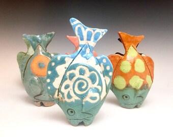 Tiny Table Fish: Blue Mandela; Soul Fish; Ceramic Fine Art