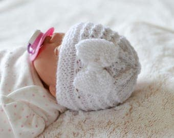 Prem/Early Babies Bow Beanie Hat, Knitted Hat, Reborns Dolls Hat, Doll Hat, Baby Shower Gift, Uk Hat, Pick Your Colour