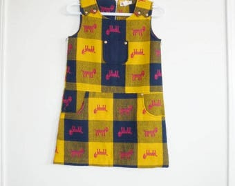 SALE // Vintage Girl's Mustard and Navy Dress