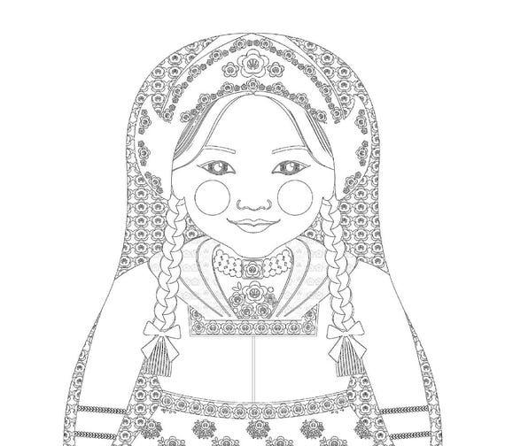 Dutch Girl Matryoshka Coloring Sheet Printable file