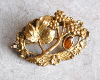 Vintage Antique Victorian Brass Brooch w/ Faux Topaz - Circa Late 1800s - Blackberries, Forget-Me-Nots - Pressed, Molded Brass - Nice Detail
