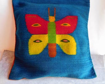 Vintage Central or South American Woven Wool Tapestry Pillow Cover - Bright Colors - Bird, Butterfly - Rustic Folk Art Weaving - Peru?