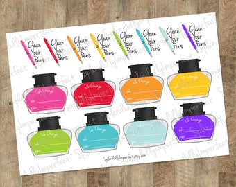 Fountain Pen Maintenance Planner Stickers
