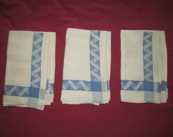 Vintage 1930s Set of 3 Perfect Linen Blue on White Dish Towels