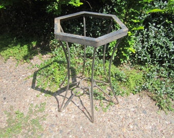 vintage mid century modern black wrought iron welded metal table base with 6 hairpin legs for