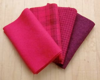 """Hand Dyed Wool Felt, CHERRY, Four 6.5"""" x 16"""" pieces in Bright, Fruity Red, Perfect for Rug Hooking, Applique', and Crafts"""