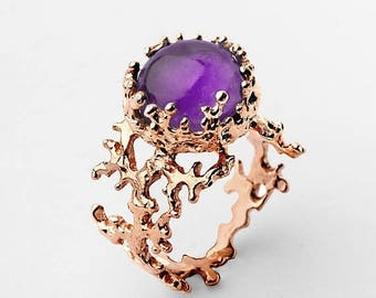 SALE 20% Off - CORAL 14k Gold Amethyst Ring, Purple Amethyst Engagement Ring, Unique Gold Ring, Rose Gold Amethyst Ring, Gold Gemstone Ring