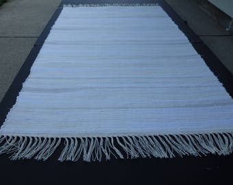 """Hand Woven Off White with Gray Accents Rag Rug 25"""" x 51"""""""