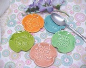 Pottery Spoon Rest Bright Colors Ceramic Frog Butterfly Sand Dollar Dragonfly Pottery Choose Color and Design Peach Lavender Pink Too cute!