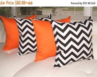 Chevron Black and White and Sundeck Orange Outdoor Throw Pillow - Free Shipping