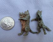 two antique miniature lead Cat and Kitten figurines dollhouse toy nursery rhyme fairy tale animal