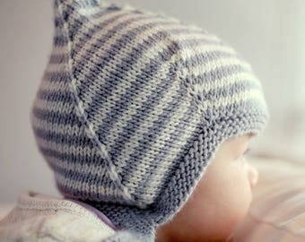 Knitting Pattern, Pixie Hat Pattern, Easy Knit Baby Hat Pattern Vintage Style Pixie Hat PDF Pattern Baby Knitting PDF LOGAN Instant Download