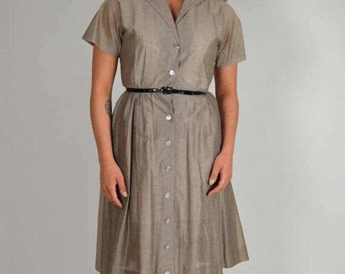 sale Vintage Dress, 50s Dress, Shirt Dress, Swing Dress, Gingham Dress,  Silk Dress, 1950s Dress, New Look Dress, Spring Dress, Summer Dress