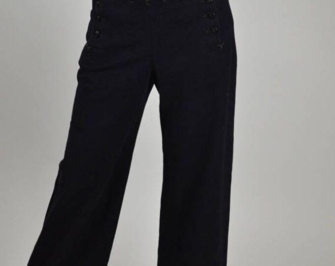 sale WWII Sailor Pants, 40s Naval Pants, Lace Backside, High Waist, Cracker Jack, Palazzo Pants, Unisex Pants, Pin Up Pants,1940s Pants