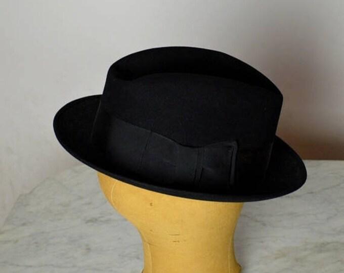 sale Stetson Hat, Black Mens Fedora, Blues Brothers, 40s Fedora Hat, 50s Fedora Hat, Beaver Fur, men's Hats,Gangster Hat, Vintage Fedora