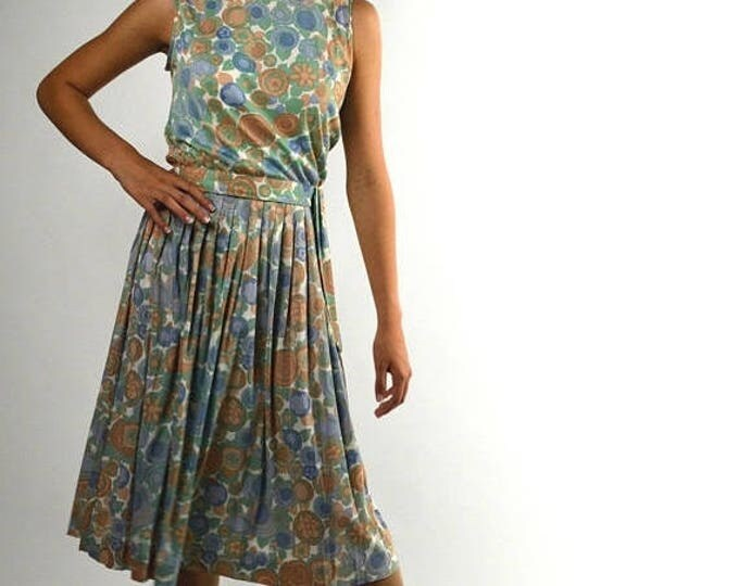 Vintage Dress, Floral Dress, Floral Print, Silky Dress, 1960s Dresses,Sleeveless, Blue Dress, 60s Dress, Womens Vintage Clothing,