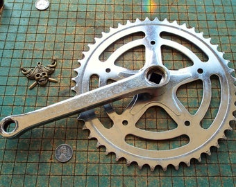 Bicycle Sprocket with crank arm, wall hanger, chrome, old bike parts, industrial, great for found art metal sculpture,