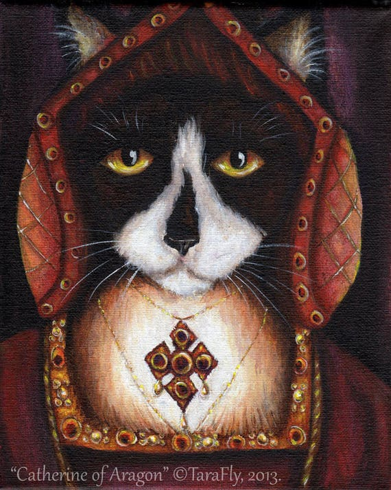 Catherine Aragon Tudor Cat Fine Art Print