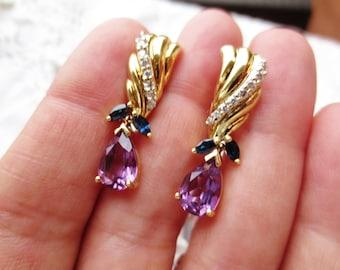 Vintage Earrings 14K Amethyst Sapphire Diamond Yellow Gold Pear Tear Drop Dangle Estate Fine Jewelry Multicolored Birthstone Pierced