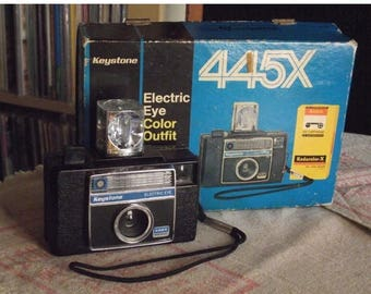 SALE 25% OFF Vintage Keystone Electric Eye 445X Instamatic Camera Outfit with Box of Unused 126 Film