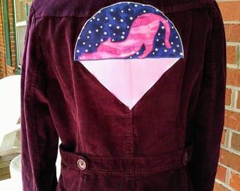 Yoga Cat Under the Stars Upcycled Corduroy Jacket