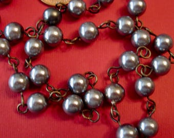 Vintage Gray-Gunmetal Pearls, Linked in a Rosary Chain Necklace