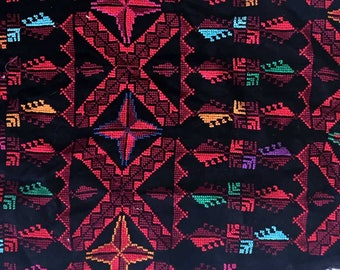Large Vintage Bedouin Embroidery Fabric Textile Piece Remnant | Ethnic Tribal Textile Crafting Quilting | Bohemian Boho Fabric Swatch Scrap