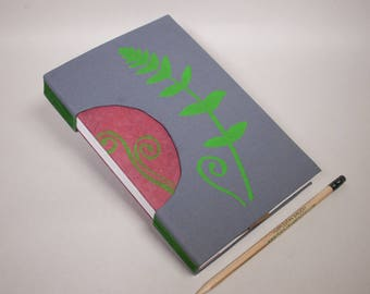 Journal, Notebook, Sketchbook or Guestbook, Hand-Bound, Rigid Fabric Cover with Fern and Fiddlehead in Gray