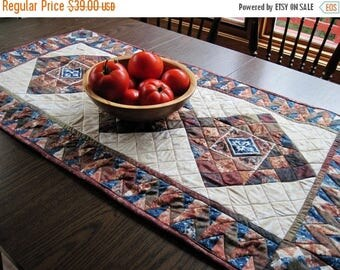 Summer Sale Quilted table runner Patchwork mosaic  granite look tiles Quiltsy handmade