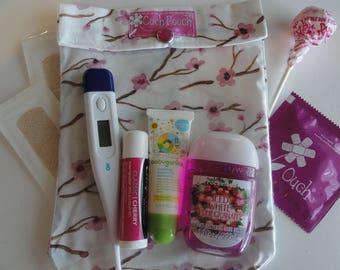 Pink Cherry Blossoms Ouch Pouch Medium 5x7 Clear First Aid Cosmetics Organizer Girls Women Baby Diaper Bag Supplies Purse Insert Travel Gear
