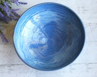 Rustic Stoneware Serving Bowl in Indigo Blue Glaze Handmade Pottery Blue Wheel Thrown Bowl Made in USA Ready to Ship