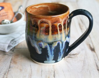 13 oz. Stoneware Mug with Dripping Gold, Purple, Blue and Black Glazes Handmade Stoneware Coffee Cup Made in USA Ready to Ship