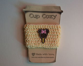 Crocheted Cup Cozy- Yellow with Mickey Bar